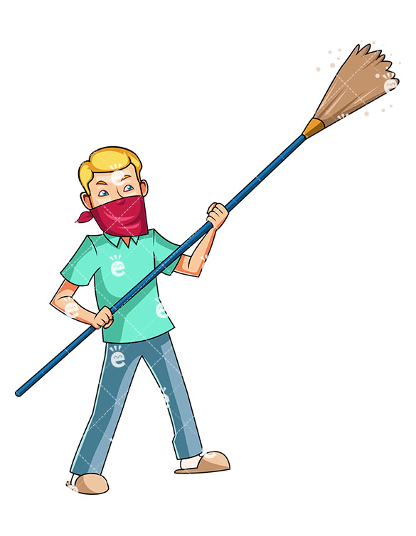 585x755 A Man Wielding A Long Feather Duster, Dusting