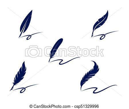 450x380 Feather Pen Logo Template Vector Illustration