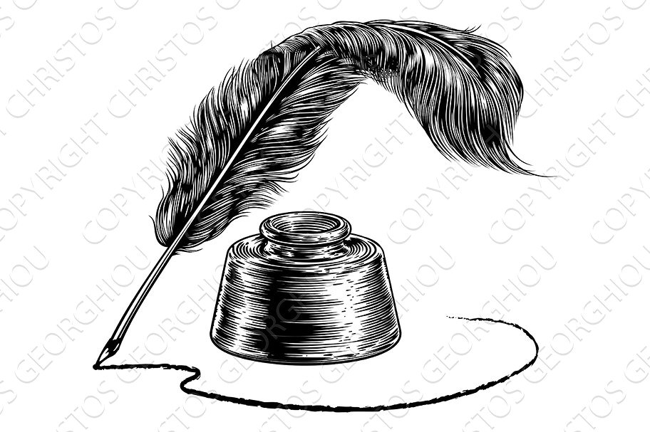 912x607 Quill Drawing Well For Free Download