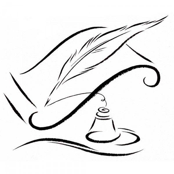 600x600 Quill Pen Ink Bottle Sandy Haight Illustration Vintage