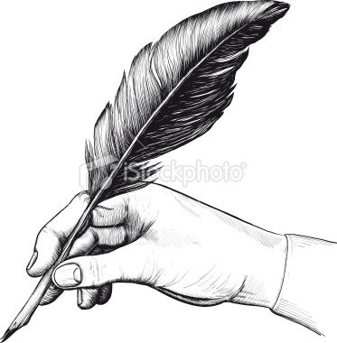 373x380 Vintage Drawing Of Hand With A Feather Pen In Style