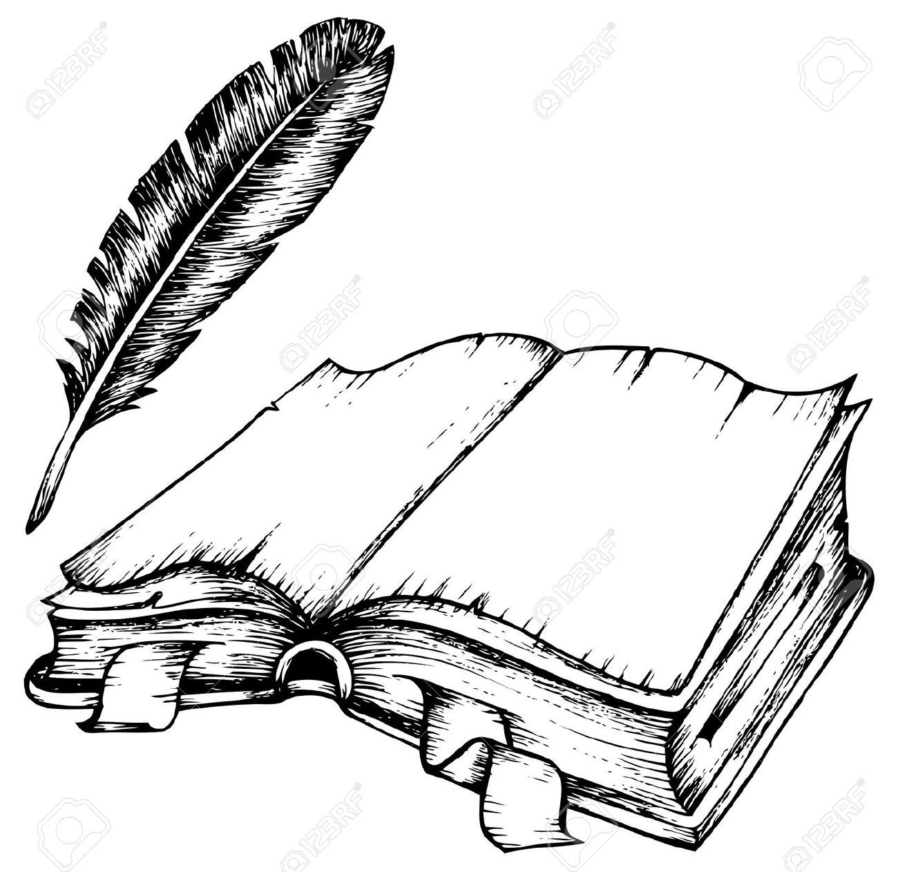 1300x1262 Quill Drawing Of Opened Book With Feather Illustration
