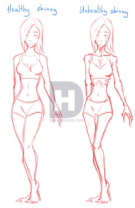 468x720 How To Draw Skinny People, Draw Skinny Bodies, Step