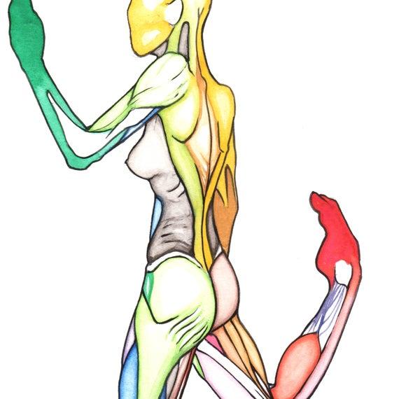 570x570 One Half Original Colorful Watercolor Drawing Sketch Human Etsy