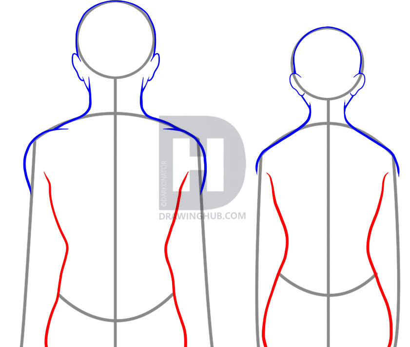 841x712 How To Draw A Back, Step