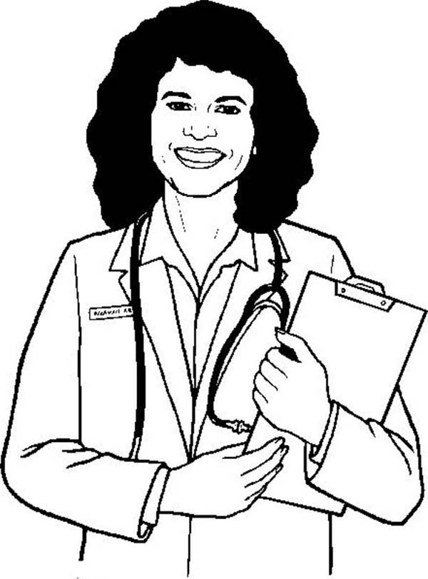 Female Doctor Drawing