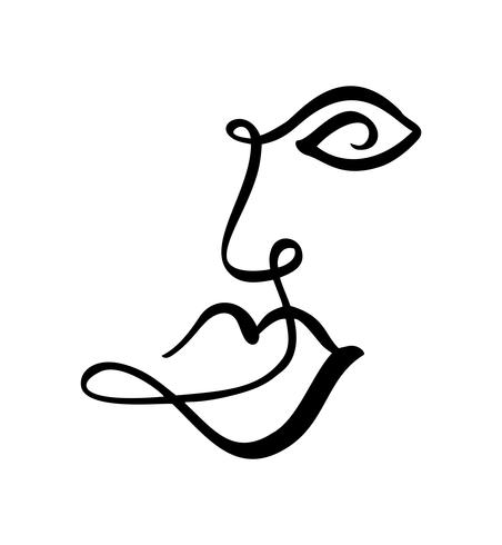 452x490 Continuous Line, Drawing Of Woman Face, Fashion Minimalist Concept