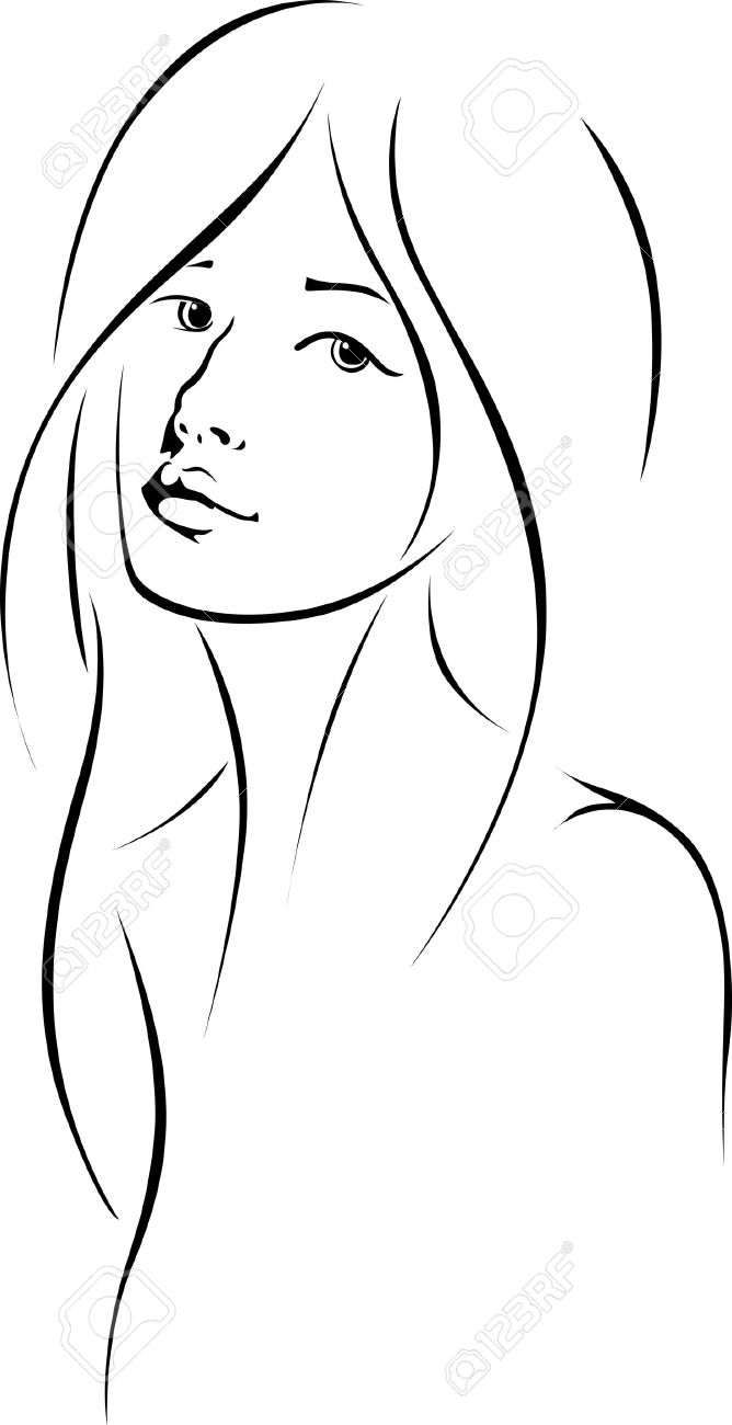 668x1300 Huge Collection Of 'face Outline Drawing' Download More Than