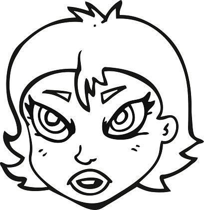 409x421 Black And White Cartoon Angry Female Face Premium Clipart