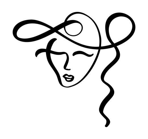 521x490 Continuous Line, Drawing Of Woman Face, Fashion Minimalist Concept