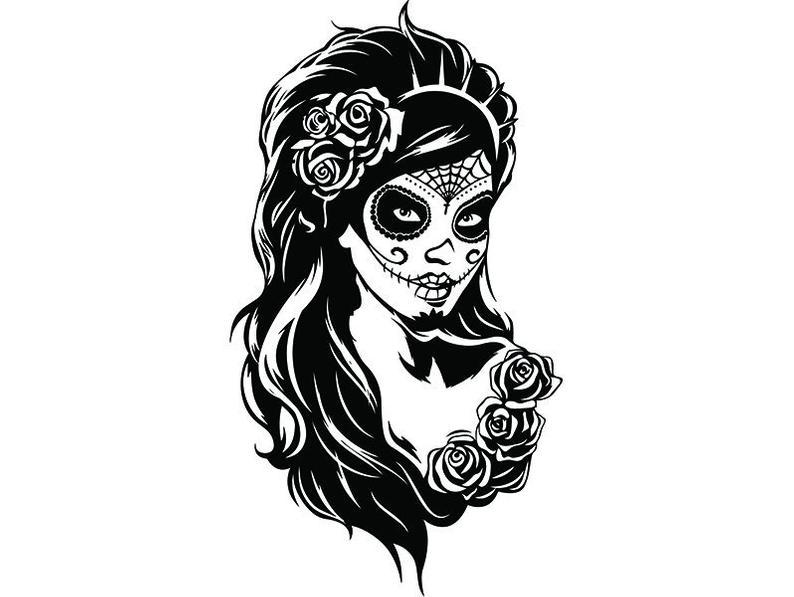 794x597 Dawn Of The Dead Female Face Flower Gangster Tattoo Art Etsy