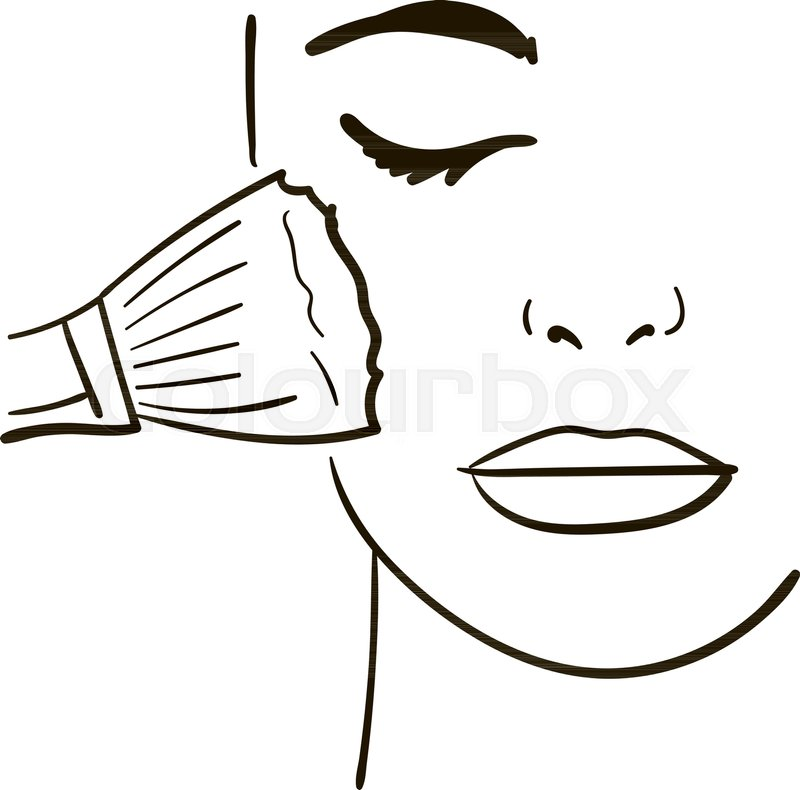 800x790 Female Face, Makeup Sketch For Your Stock Vector Colourbox