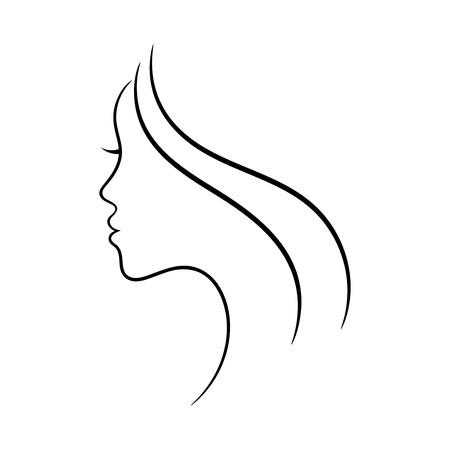 450x450 Female Face Profile Sketch May Be Used For Spa And Beauty Salon