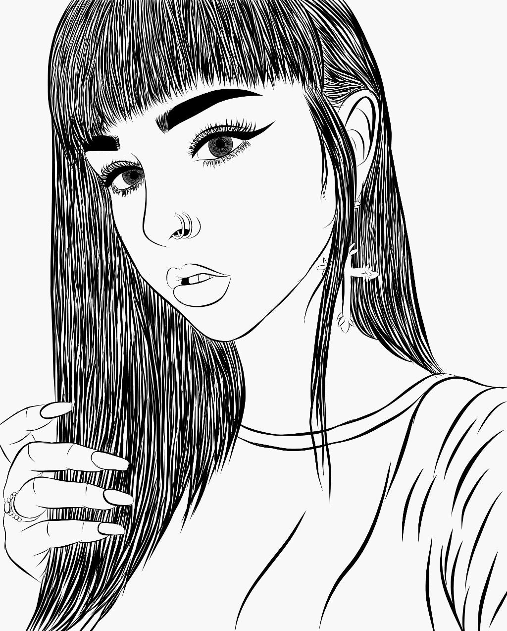 1024x1273 Girl Face Drawing Sketch Unique Fashion Illustration Woman Face