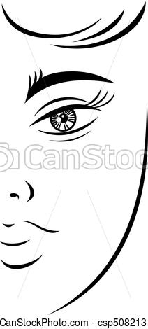 212x470 Outline Drawing Young Female Face With A Mysterious Look Quick