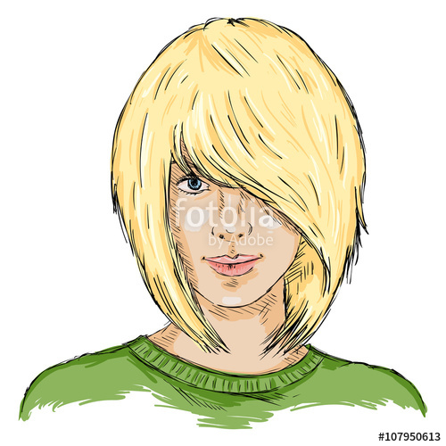 500x500 Vector Single Sketch Female Face Women Hairstyle Stock Image