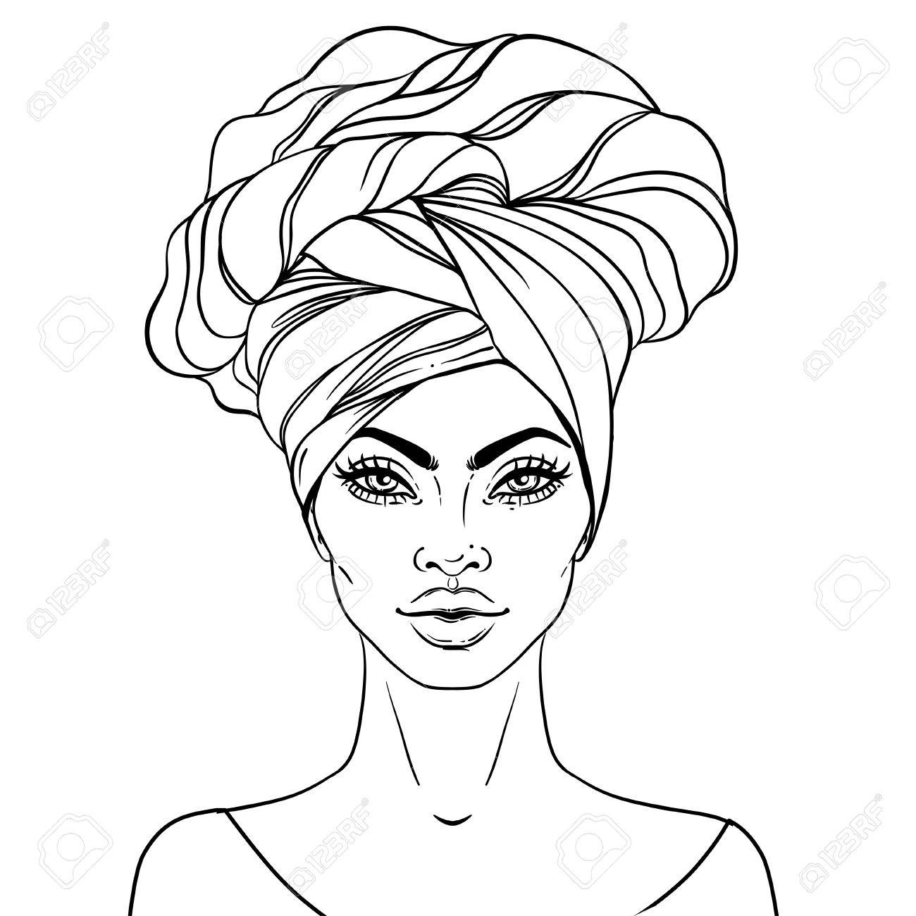 1300x1300 Young Black Woman Drawing With Crown Line Sketch Art Iydunetwork