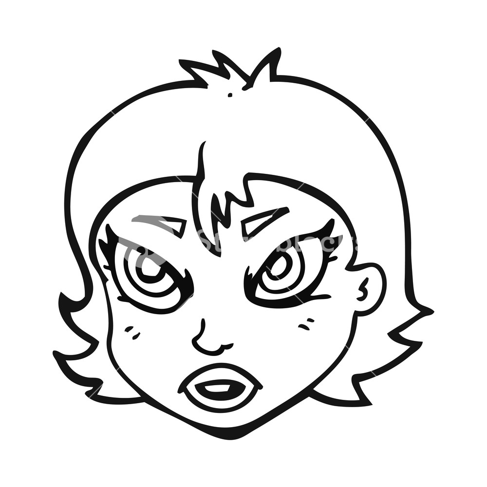 1000x1000 Freehand Drawn Black And White Cartoon Angry Female Face Royalty