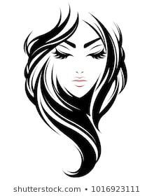 220x280 illustration of women long hair style icon, logo women face