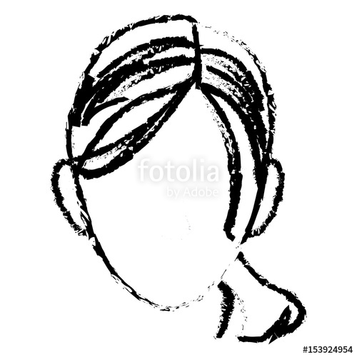500x500 Sketch Head Woman Female Face Vector Illustration Stock Image