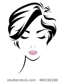 220x280 women short hair style icon, logo women face on white background