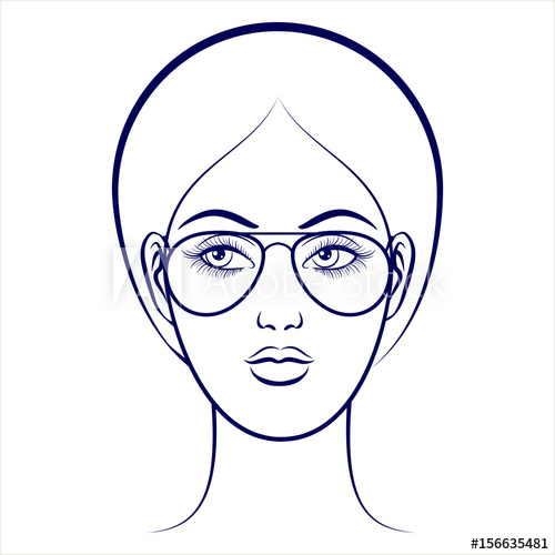 500x500 Balpoint Drawing Female Face With Glasses On Grey Backdrop Vector