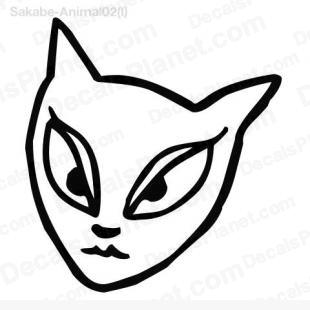 310x310 cat female face drawing decal, vinyl decal sticker, wall decal