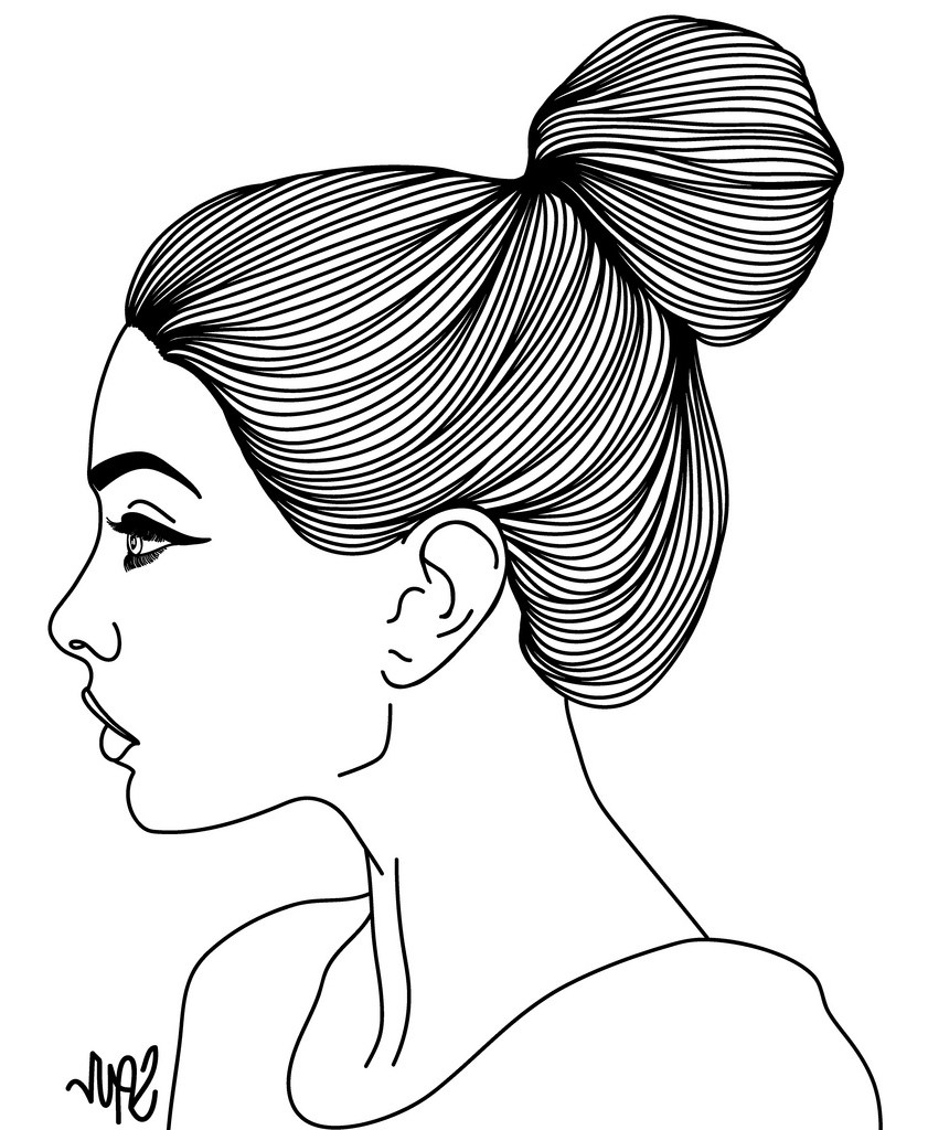 841x1024 Woman Drawing Face Side