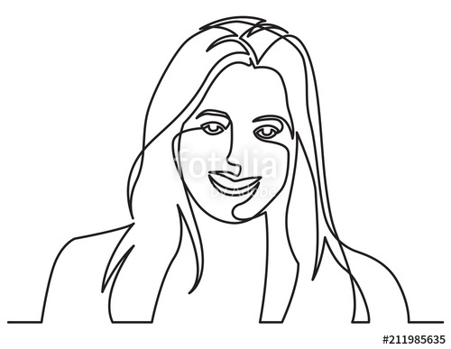 500x387 Continuous Line Drawing Of Smiling Happy Woman On White Background