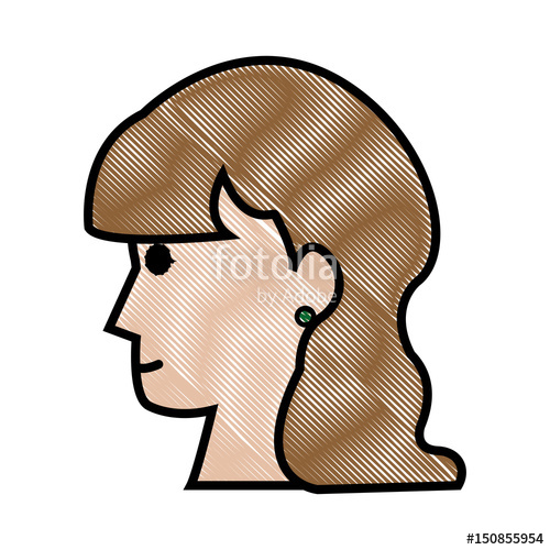 500x500 Drawing Profile Head Woman Female Long Hair Vector Illustration