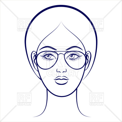 400x400 Balpoint Drawing Female Face With Glasses Vector Image Of People