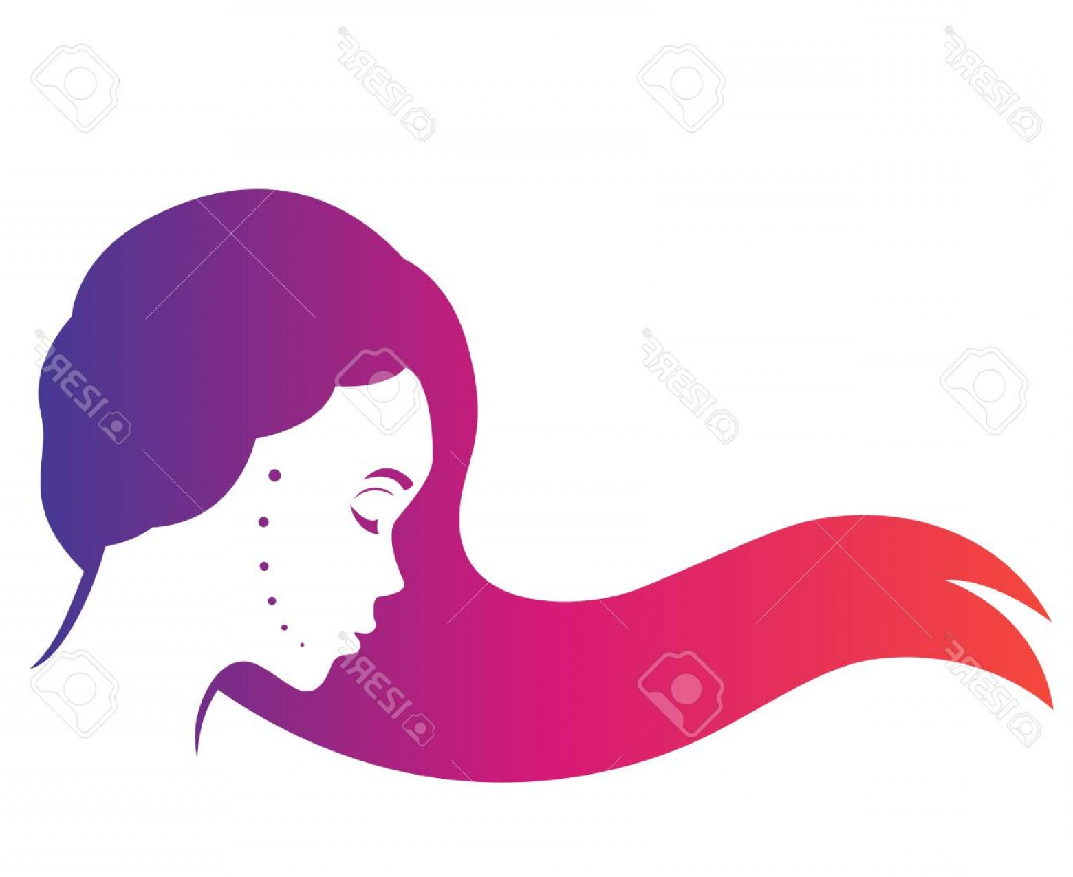 1560x1275 Photostock Vector Mysterious Long Haired Girl In Profile Beautiful