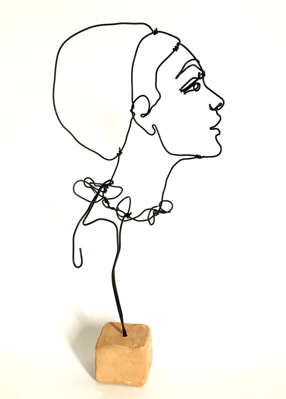 1075x1500 Wire Sculpture Portrait Of Woman Side Profile Female Etsy