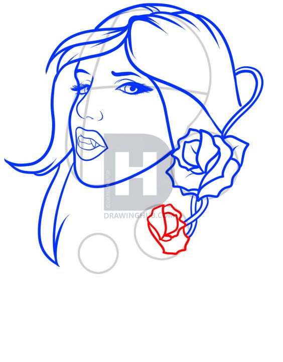 564x720 How To Draw A Vampire Tattoo, Vampire Tattoo, Step
