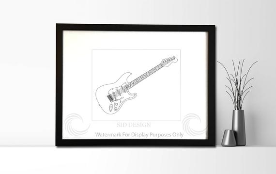 570x359 authentic sketch of fender american standard stratocaster etsy