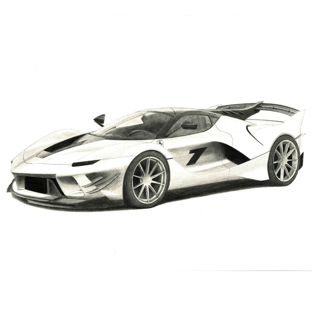 1000x1000 Ferrari Fxx K Pencil Car Drawing Size X Ebay