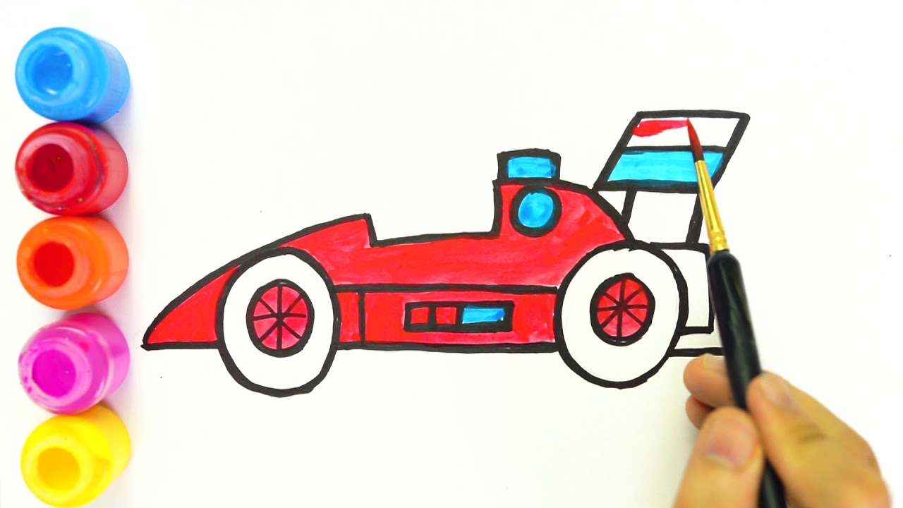1280x720 Glitter Ferrari Race Car Coloring And Drawing For Kids