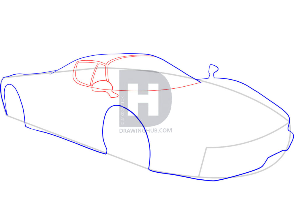 1009x720 How To Draw A Ferrari, Step
