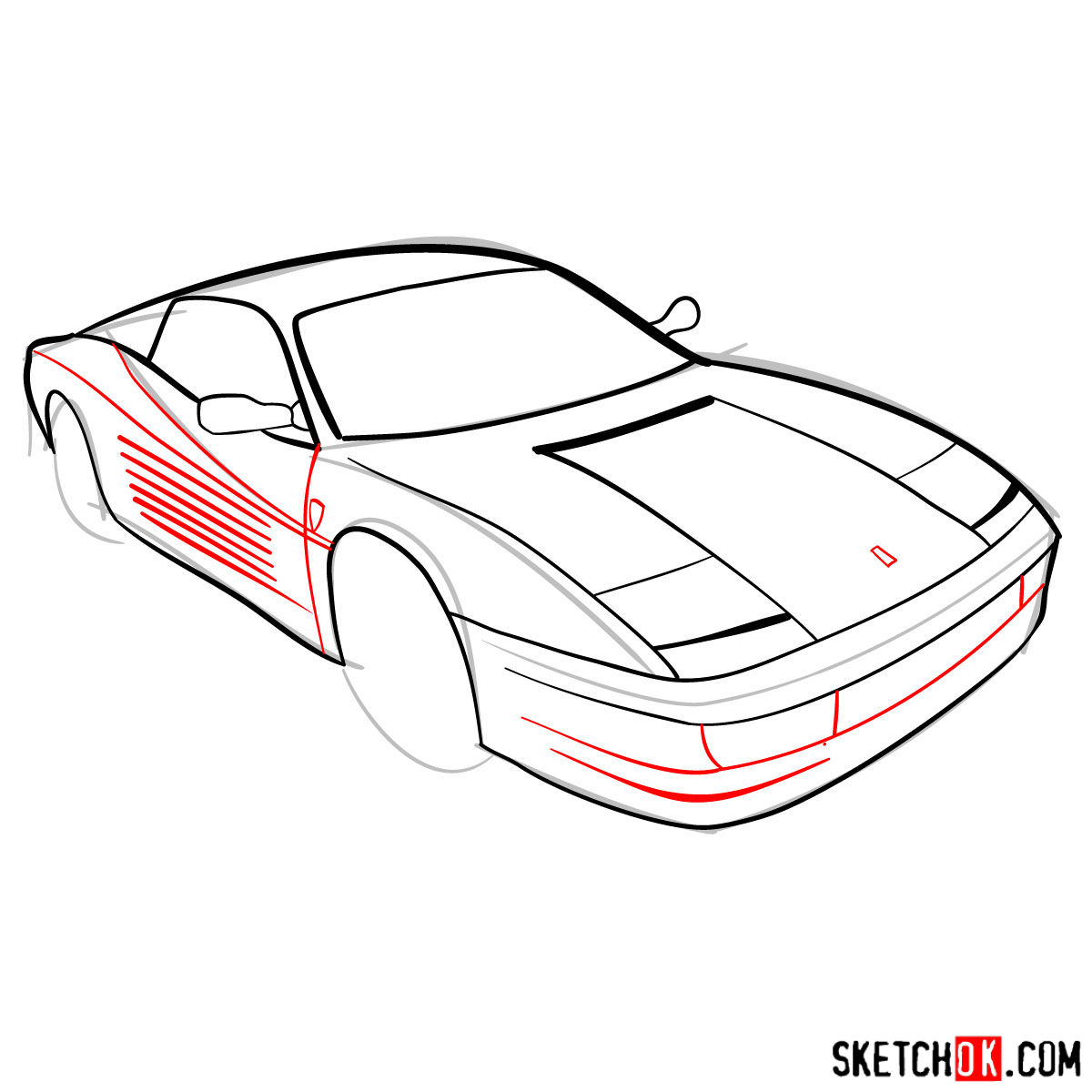 1200x1200 How To Draw Ferrari Testarossa