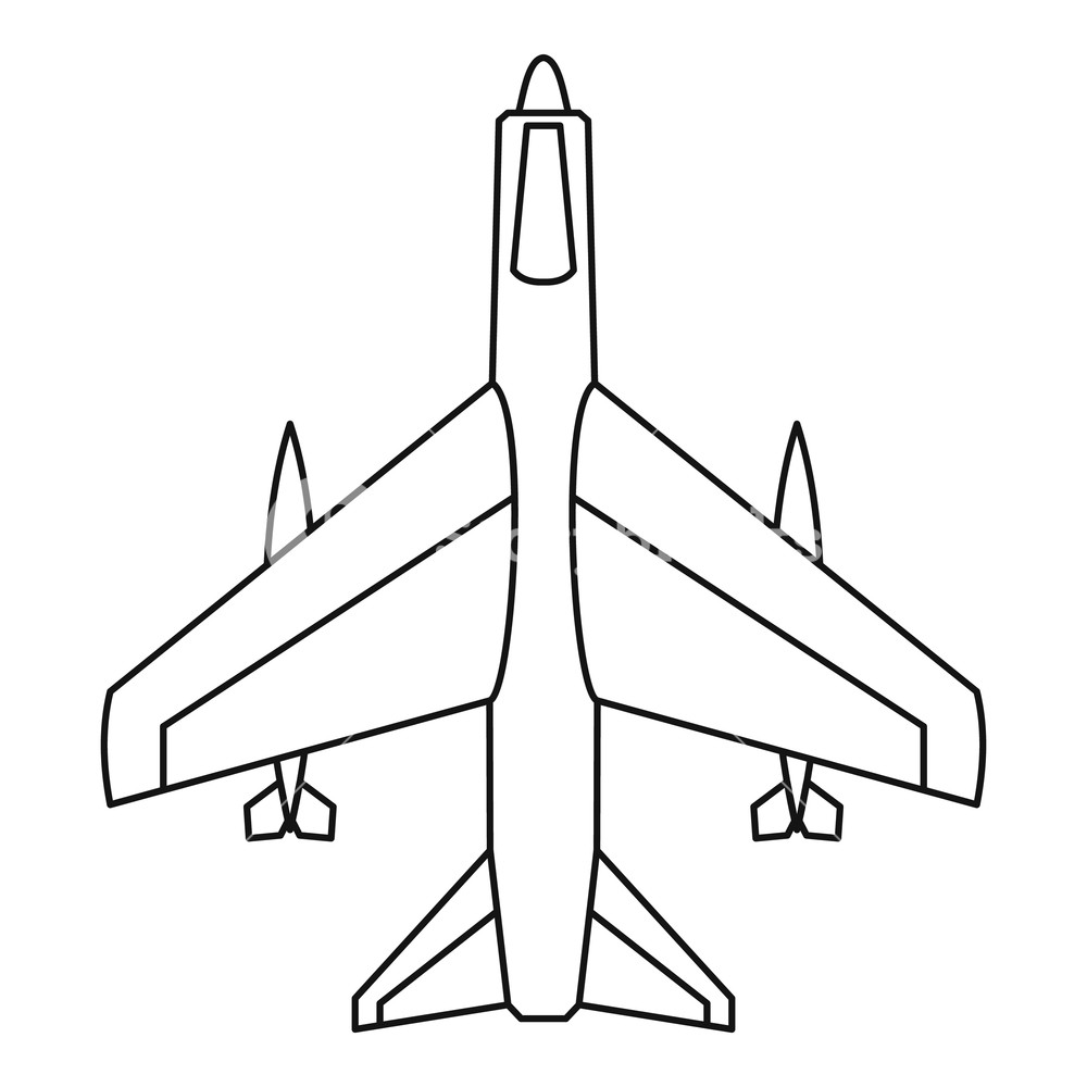 1000x1000 armed fighter jet icon outline illustration of armed fighter jet