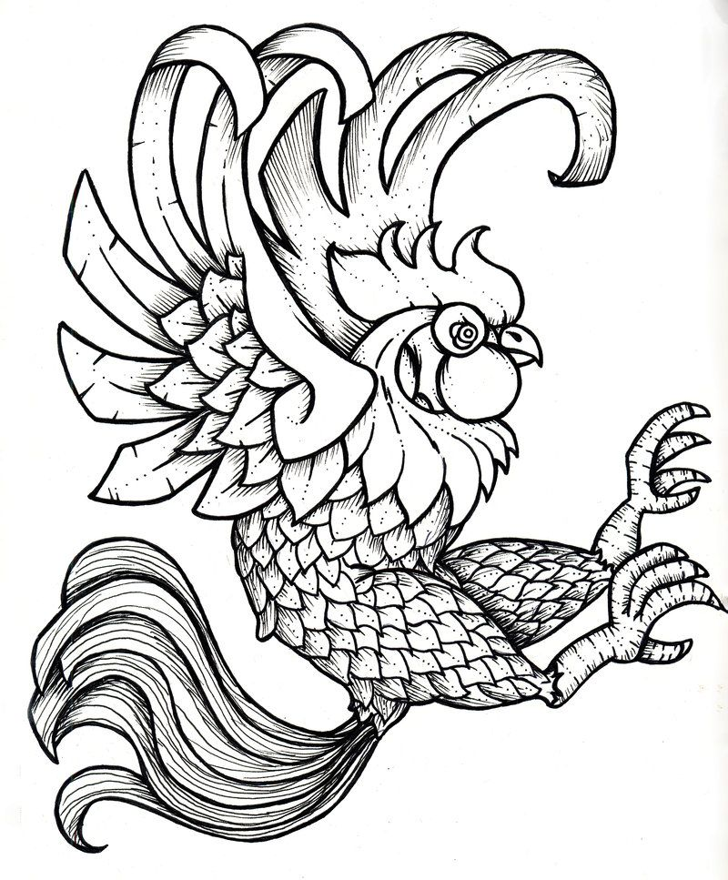 800x967 rooster printable black and white black rooster