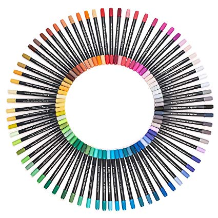 425x425 dual tip brush marker pens, fine tip art