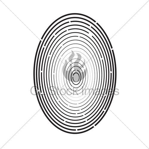 500x500 Fingerprint Symbol Isolated Gl Stock Images