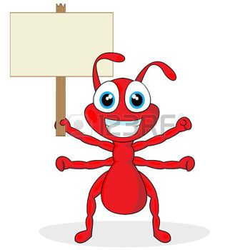 350x350 Cartoon Ant Cute Little Red Ant With Wood Sign Szablony