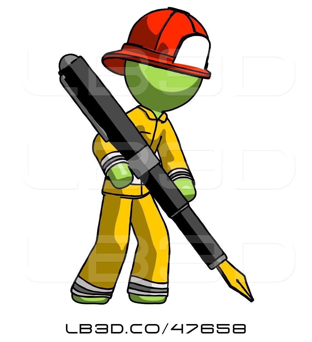 1024x1124 illustration of green fireman fireman guy drawing or writing