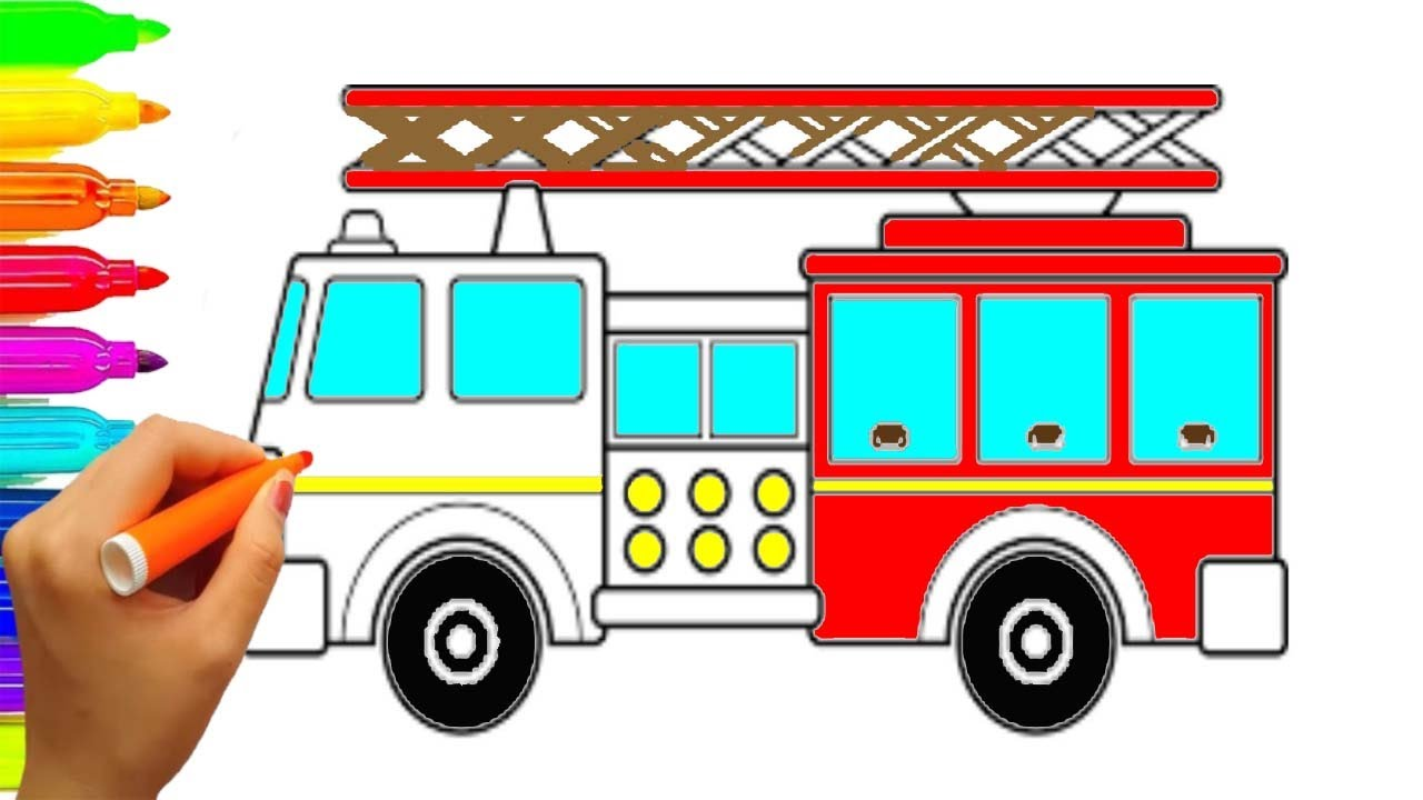Fire Engine Drawing Free Download Best Fire Engine Drawing On