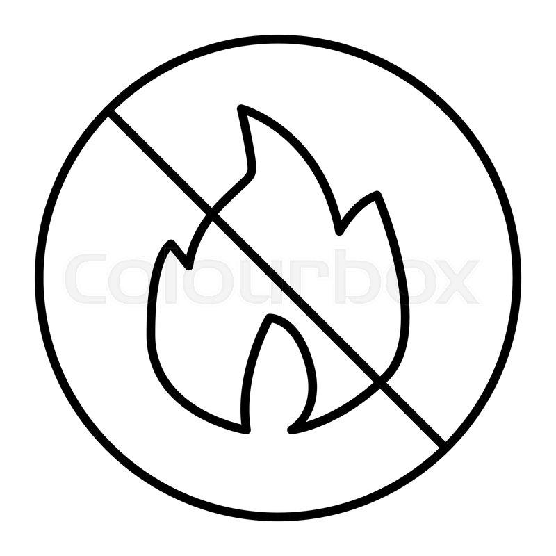800x800 no fire thin line icon forbidden fire stock vector colourbox