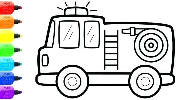 graphic regarding Fire Truck Template Printable titled Fireplace Truck Line Drawing No cost down load suitable Hearth Truck Line