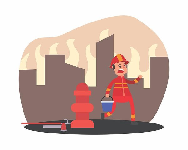 600x480 cute adorable firefighter fireman fire brigade profession cartoon