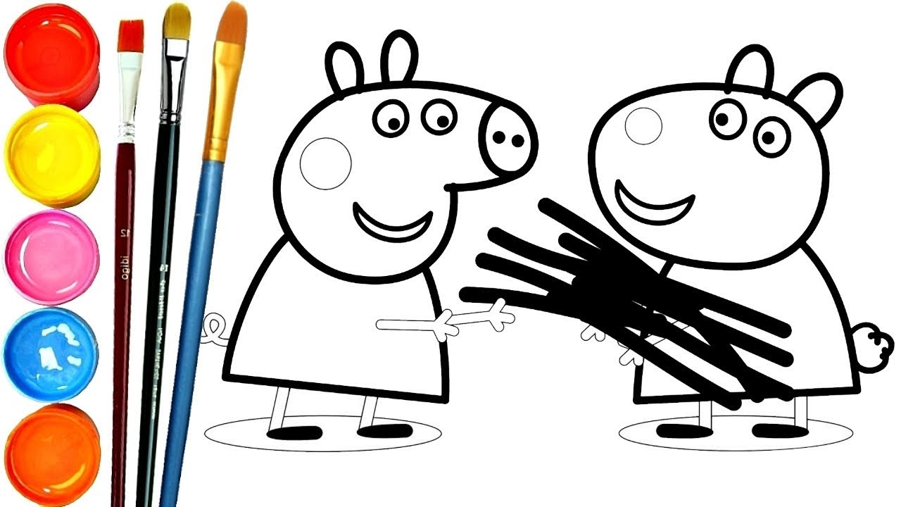 1280x720 peppa pig firewood peppa drawing learn colors for kids